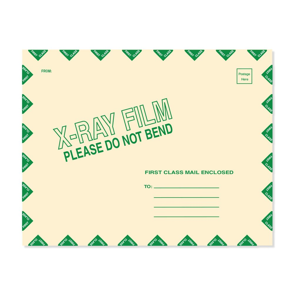 PDC Healthcare FMSB05 X-Ray Film Mailer, String and Button, 11Pt Manila, 11'' x13'', Open End with Green Diamond Border (Pack of 50)