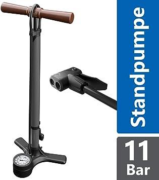 Fahrrad Luftpumpe Standpumpe mit Manometer für alle Ventile Hochdruck 12 bar
