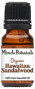 Miracle Botanicals Organic Hawaiian Sandalwood Essential Oil - 100% Pure Santalum Paniculatum - 2.5ml, 5ml, or 10ml Sizes - Therapeutic Grade - 10ml