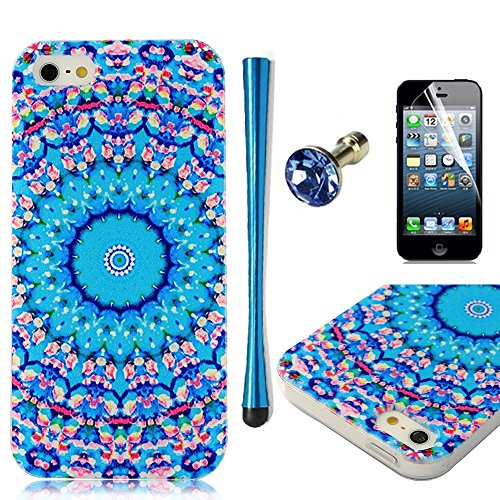 5s Case, iPhone 5&5s Case - MOLLYCOOCLE Fashion Style Colorful Painted Green Totem Flowers Pattern TPU Soft Cover Case for iPhone 5&5s(Blue Purple Flowers) +1x Screen Proector +1x Stylus Pen +1x Auti Dust Plug