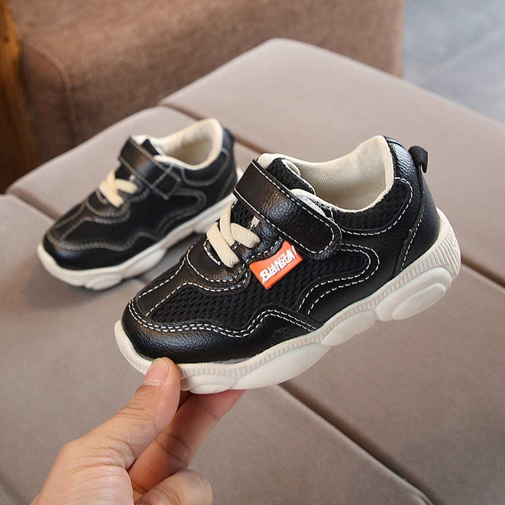 Kids Boys Girls Soft Flat Sports Running Casual Single Shoes Black A,5.5-6years Suma-ma Toddler Babys Mesh Breathable Sneakers