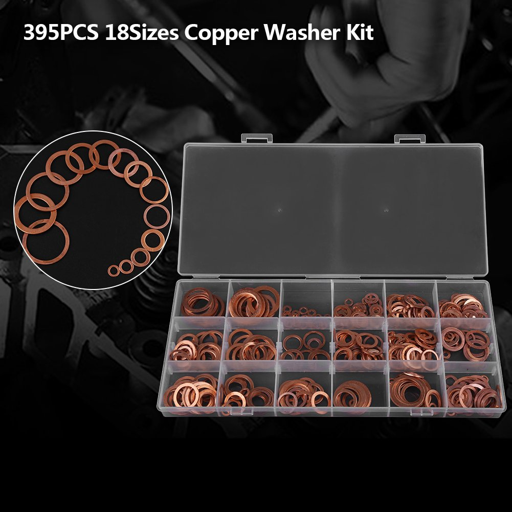 rondelle ad anello piatto Kit 18 misure con scatola per tappi di scarico raccordi acqua Rondelle con tappo di scarico rondella di rame da 395 pezzi assortiti carburante e idraulica
