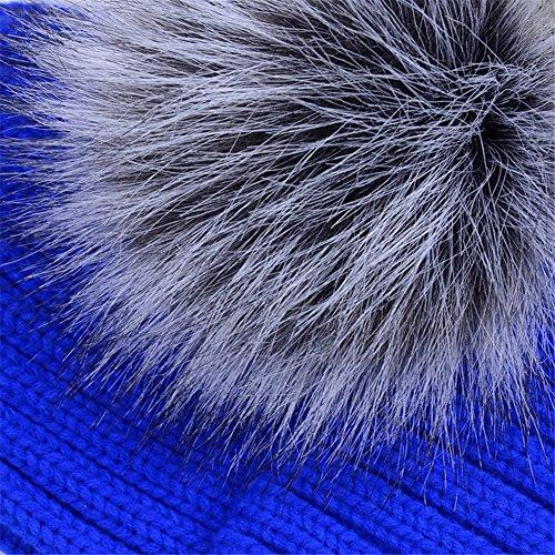 2f800b8a5b73c Dikoaina Womens Girls Winter Fur Hat Large Faux Fur Pom Pom Beanie Hats