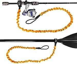 wonitago Stretchable Kayak Paddle Leash, Coiled Rod Leash Tool Lanyard for Kayak and SUP Paddles, Fishing Poles Rods Orange/Gray