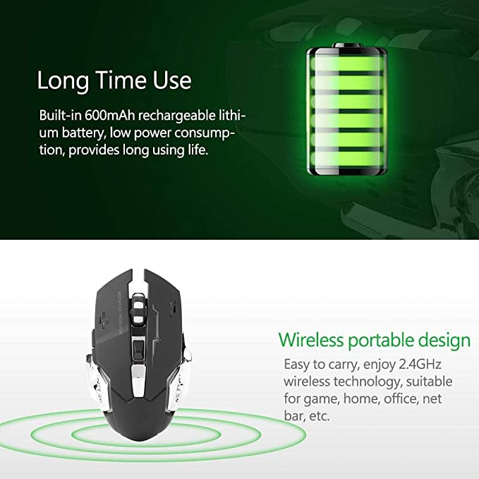 Black Home and Office Portable Wireless Mute Mouse 2400 DPI USB 2.4GHz Wireless Optical Gaming Mouse with Exclusive Mute L/&R Button for Gaming Tosuny Gaming Mice