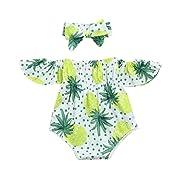 IEason Newborn Toddler Kid Baby Girl Print Romper Jumpsuit Sunsuit+Headband Clothes Set (0-3 Months, White2)