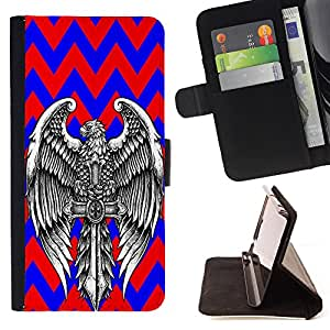 - Skull Tattoo Partterned - - Premium PU Leather Wallet Case with Card Slots, Cash Compartment and Detachable Wrist Strap FOR Sony Xperia Z1 M51W Z1 mini D5503 King case