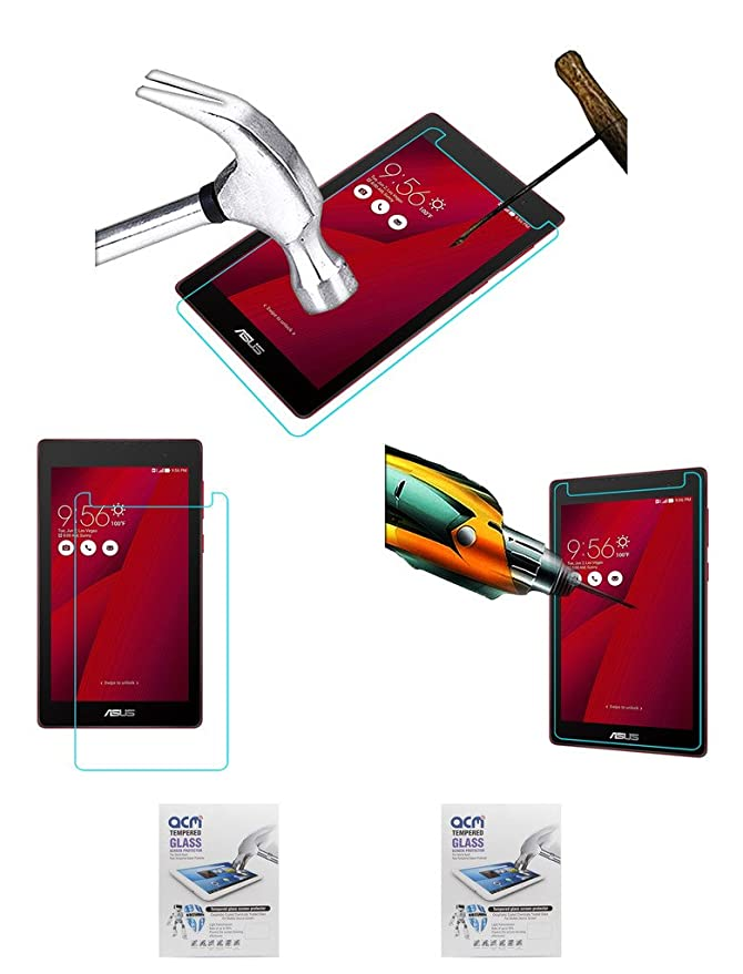 Acm Pack of 2 Tempered Glass Screenguard Compatible with Asus Z170cg Screen Guard Scratch Protector Tablet Accessories