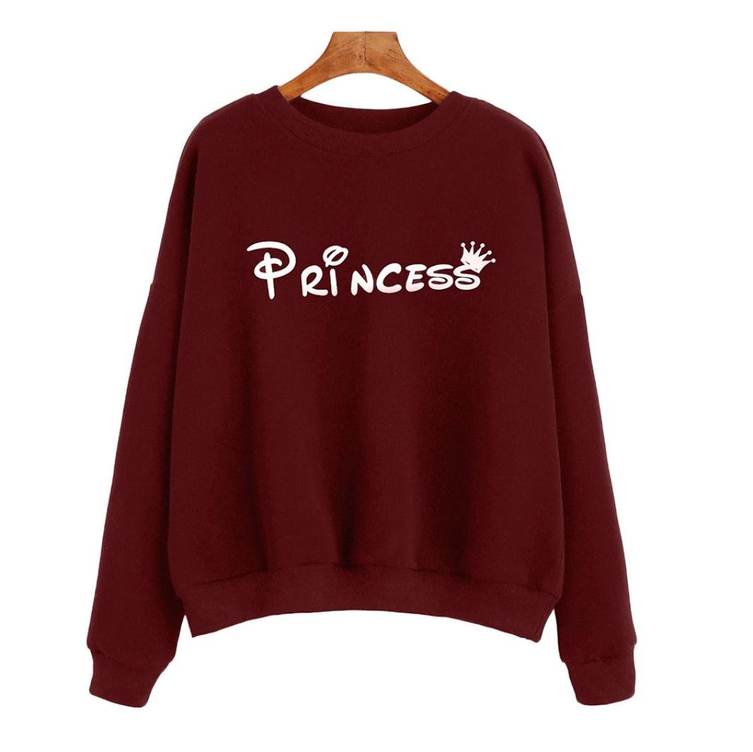 Napoo Women Princess Letter Print Crown Crewneck Pullover Sweatshirt (M, Wine Red) by Napoo