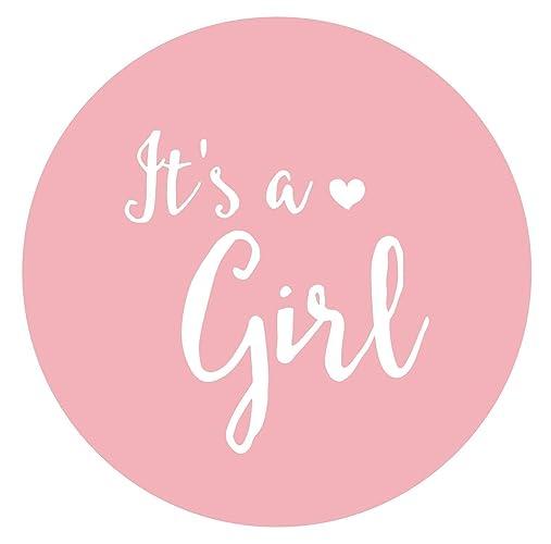 It's a girl Sticker 36 wunderschöne runde Aufkleber, rosa, matt, für Mädchen, Ø 4,5cm Für Einladungen und Dankeskarten, zur Geburt, Taufe,
