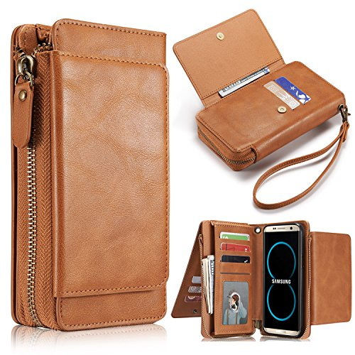 Galaxy S8 Plus Wallet Case,[Folio][Flip][Wrist Strap] Handmade Leather Detachable Magnetic Wallet Case Purse Clutch with Zipper and Large Capacity Card Slots+Side Pocket for Samsung S8 Plus (Brown)