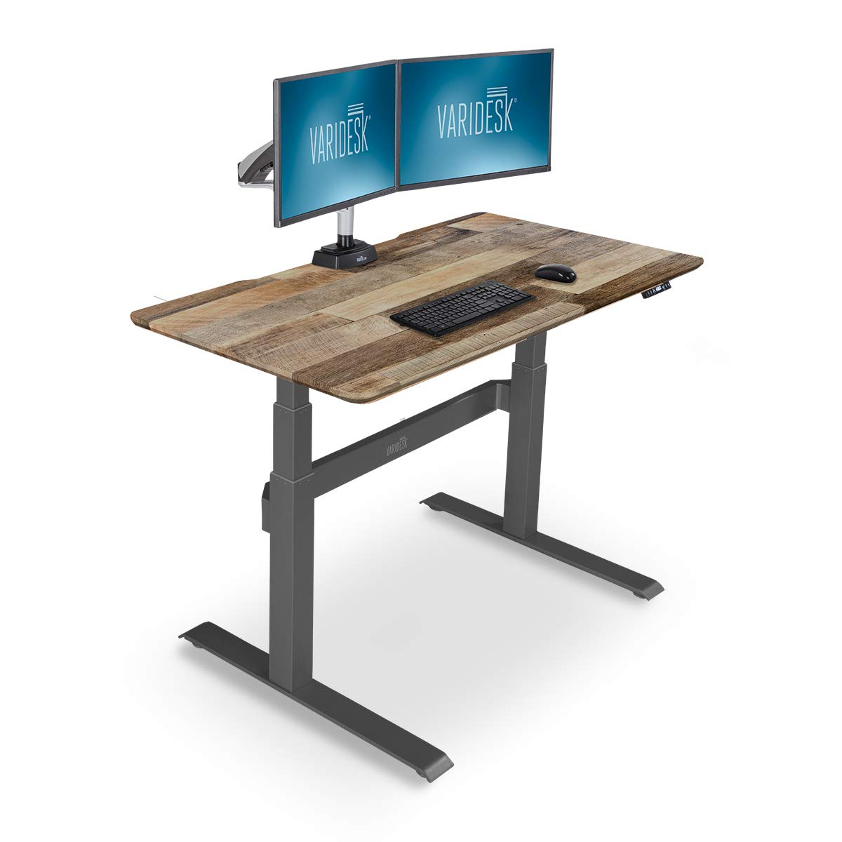 VARIDESK - Full Electric Desk - PRODESK 48 Electric Reclaimed Wood - 3-Button Memory Settings