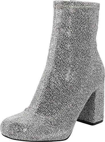 Cambridge Select Women's Closed Round Toe Stretch Fabric Sock Chunky Block Heel Ankle Bootie,9 B(M) US,Silver Glitter ()