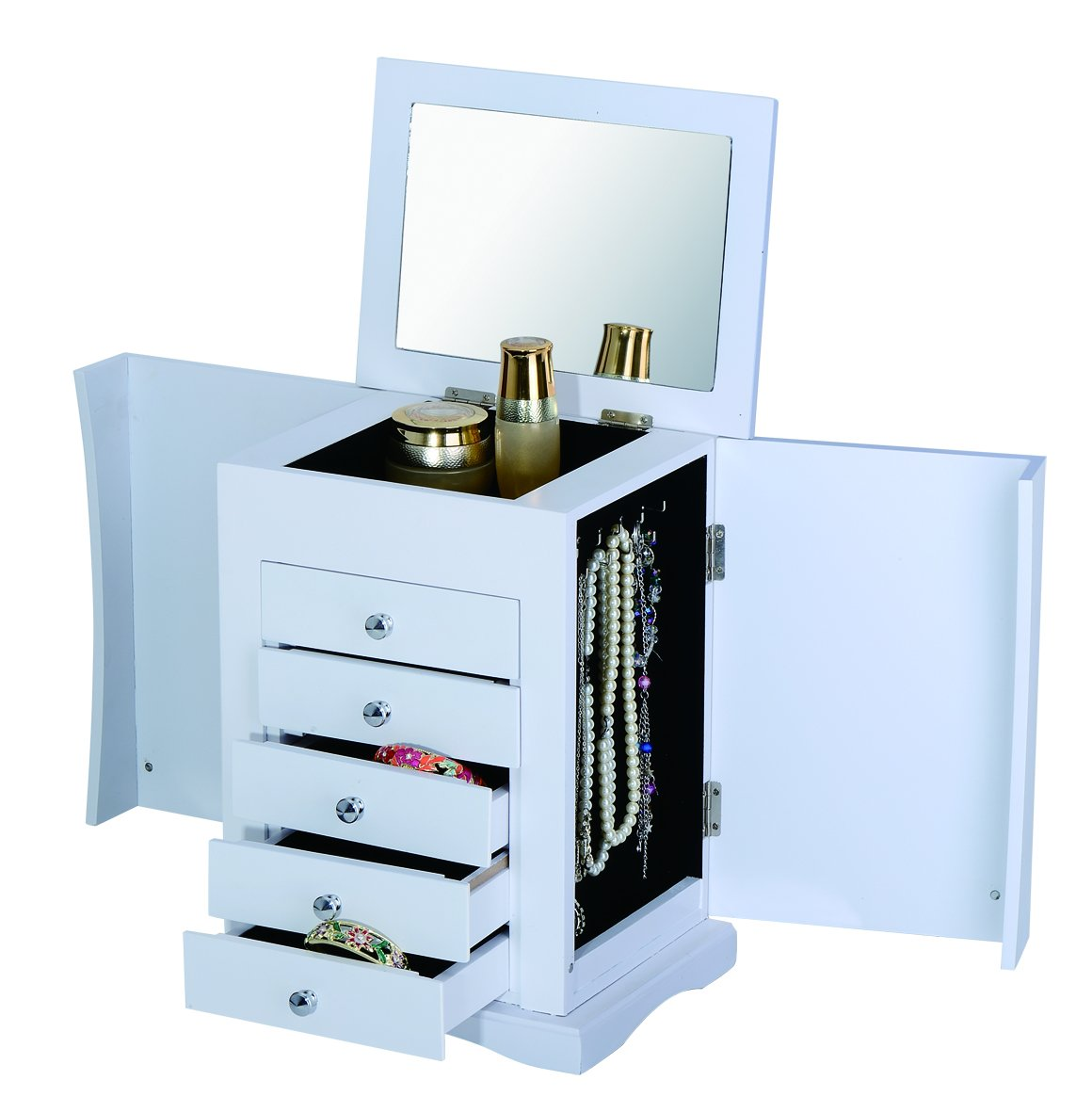 Table Top/Counter Top Jewellery Chest with Make-up Mirror (White) ViscoLogic WO-6188