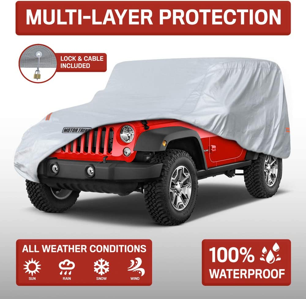 OV-740/_Wrangler Motor Trend All Weather Custom Fit Cover for 2 Door Jeep Wrangler - Waterproof Windproof 1987-2019 JK JL CJ YJ TJ