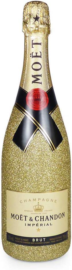 75 cl de Moet & Chandon Brut Imperial Champagne con 2 flautas de champán presentados en una caja de regalo de madera - Ideas para regalos de cumpleaños, aniversarios, Navidad, negocios y