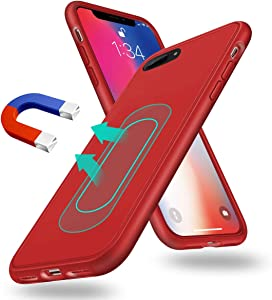 Magnetic Case for iPhone X/Xs,[Invisible Built-in Metal Plate] Ultra Thin Support Magnetic Car Mount,Soft TPU Shockproof Anti-Scratch 360 Protective Cover for iPhone X/Xs 5.8'' Red