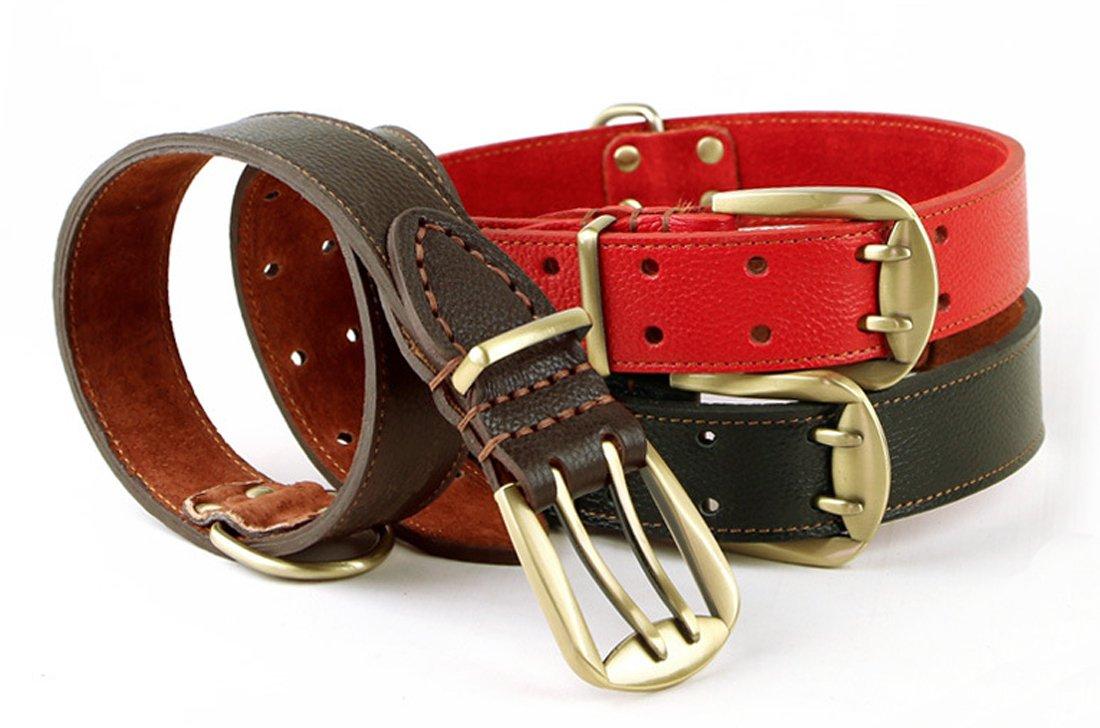 marr/ón 1,57 pulgadas de ancho Rantow Ajustable Collar de cuero fuerte para perros grandes longitud ajustable 23.5 pulgadas a 27.5 pulgadas