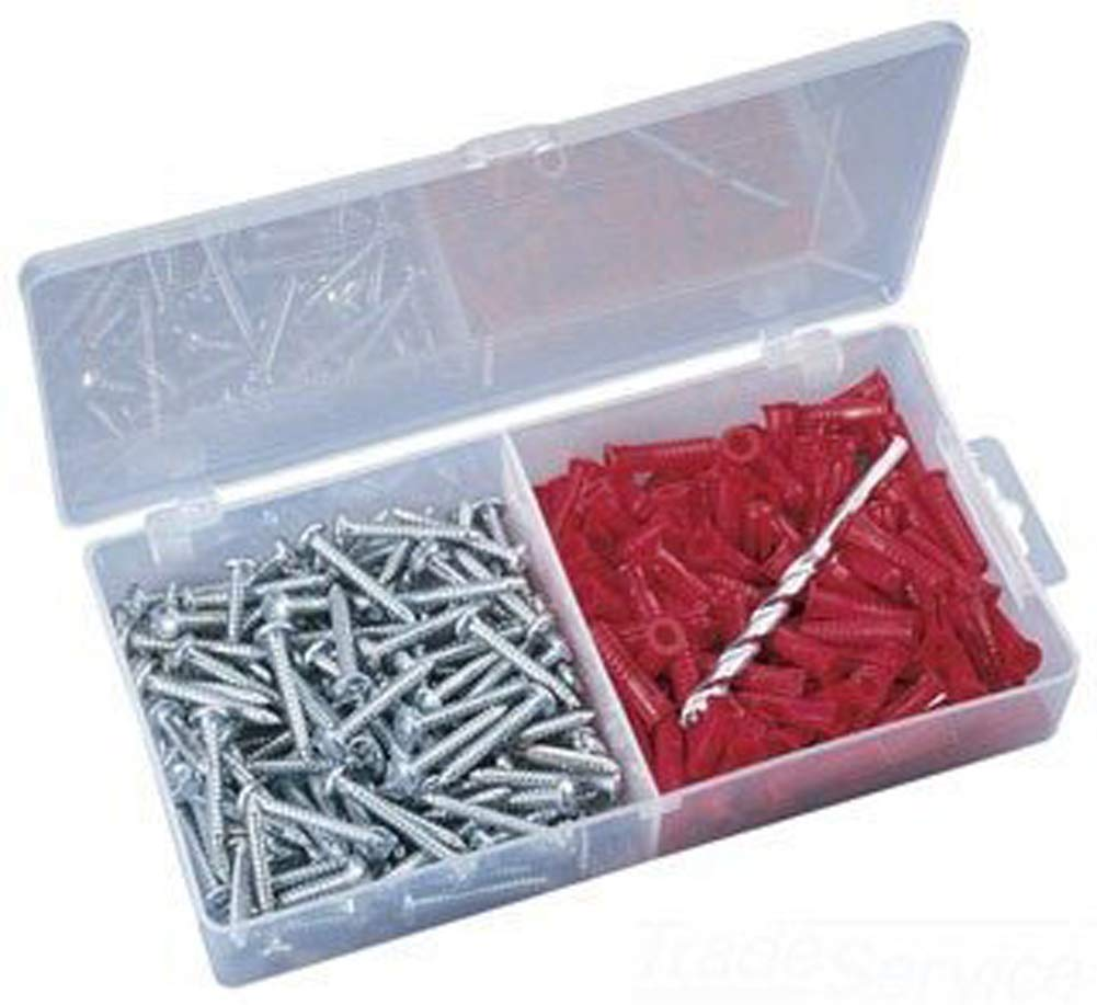 Red Plastic 201 Pieces Ideal 90-052 Flange Anchor Kit