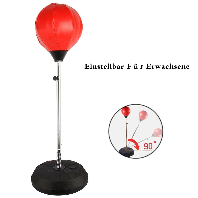 Punchingball Erwachsene Boxtraining Set mit Boxhandschuhen und Ständer  Verstellbar Höhe 120-150 cm Rot: Amazon.de: Sport & Freizeit