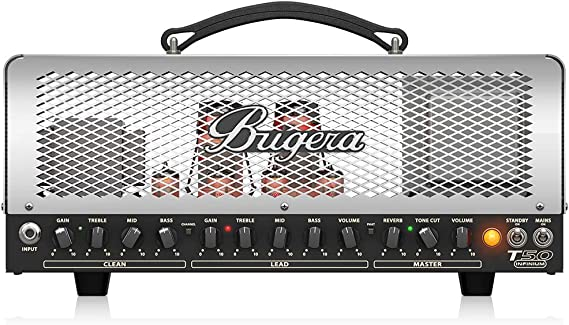 BUGERA T50-INFINIUM 50-Watt Cage-Style 2-Channel Amplifier Head with Infinium Tube Life Multiplier Silver multicolored