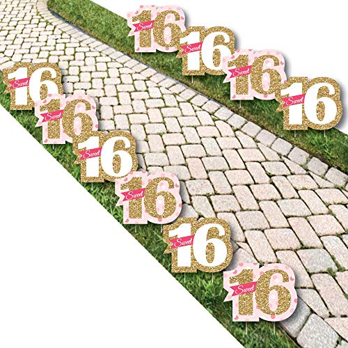 Big Dot of Happiness Sweet 16 - Sweet Sixteen Lawn Decorations - Outdoor Birthday Party Yard Decorations - 10 Piece]()