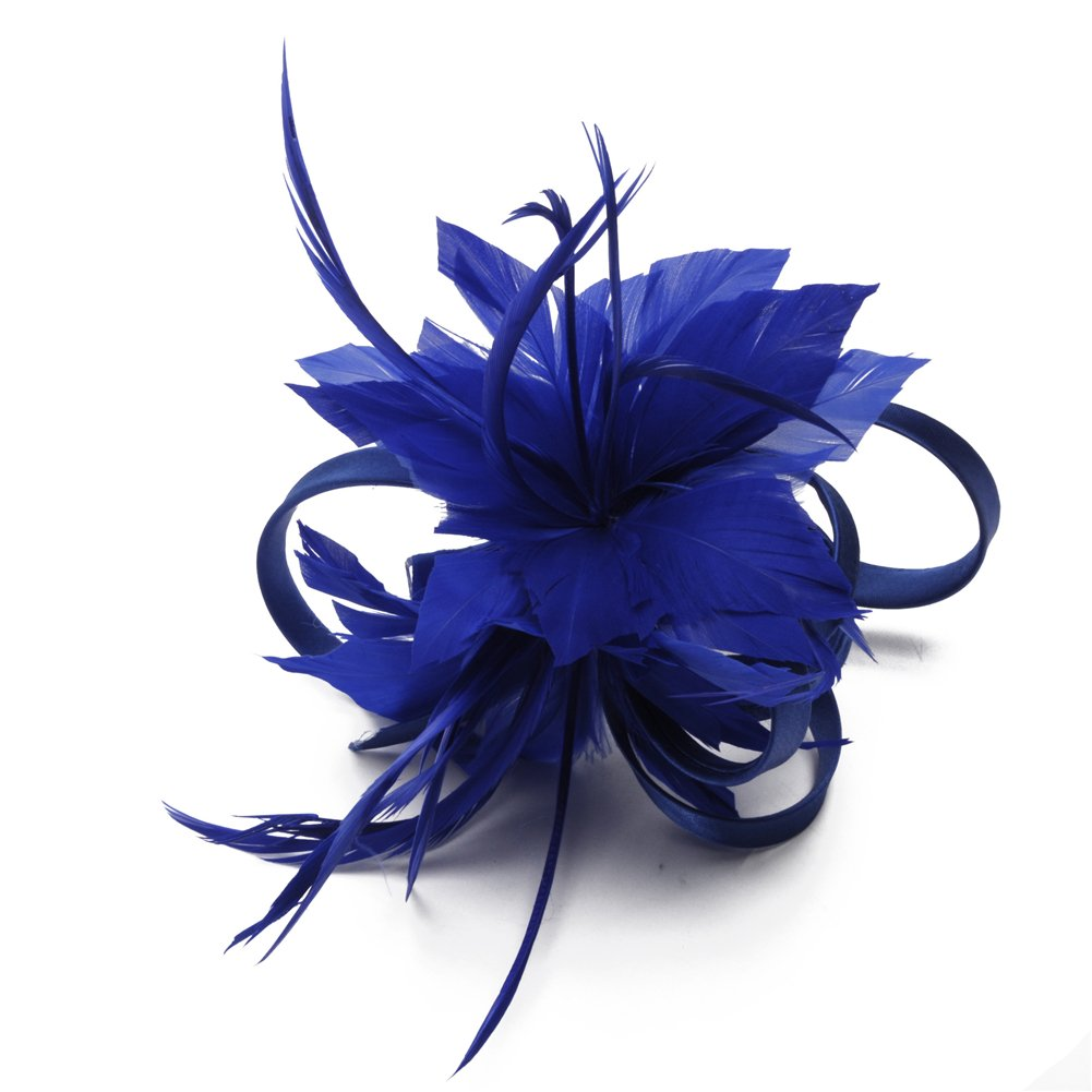 Women's Vintage Fascinators Hat Flower Mesh Ribbons Feathers with Comb for Wedding Bridal Headware Party Headdress