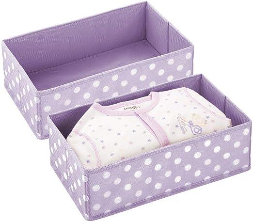 mDesign Juego de 2 Cajas de almacenaje para habitación Infantil o baño – Cesta organizadora Plegable a