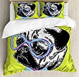Pug Duvet Cover Set Queen Size by Ambesonne, Cute Dog with a Bow Tie and Nerdy Glasses on Yellow Backdrop Funny Comic Image, Decorative 3 Piece Bedding Set with 2 Pillow Shams, Yellow Blue Black