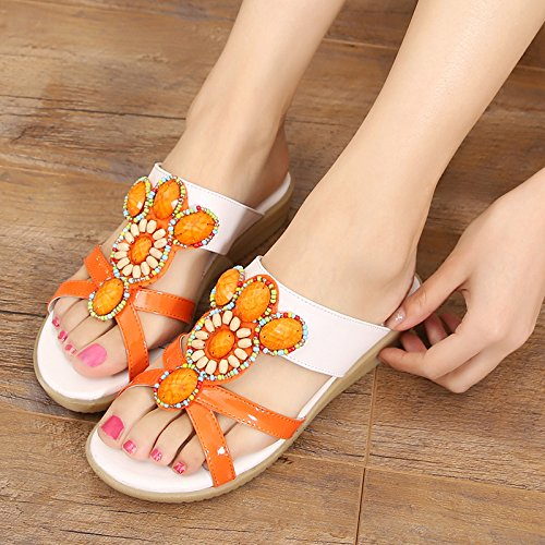 OME&QIUMEI Fuera Del Verano De Fondo Plano De Zapatillas De Mujer Naranja