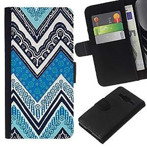KLONGSHOP // Tirón de la caja Cartera de cuero con ranuras para tarjetas - Tinta Patrón Azul Blanco - Samsung Galaxy Core Prime //