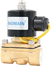 Baomain 1/2 inch Brass Electric Solenoid Valve Water Air Fuels N/C Valve DC 12V