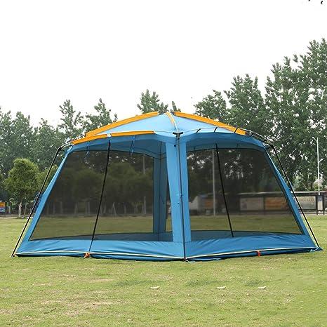 MENGQIN Protección contra La Lluvia De Doble Capa Al Aire Libre para Protegerse del Sol 4 Esquinas Arbor De Jardín Incluyen Tapete/Toldo Refugio contra Mosquitos Camping Pérgola,Blue: Amazon.es: Deportes y aire libre
