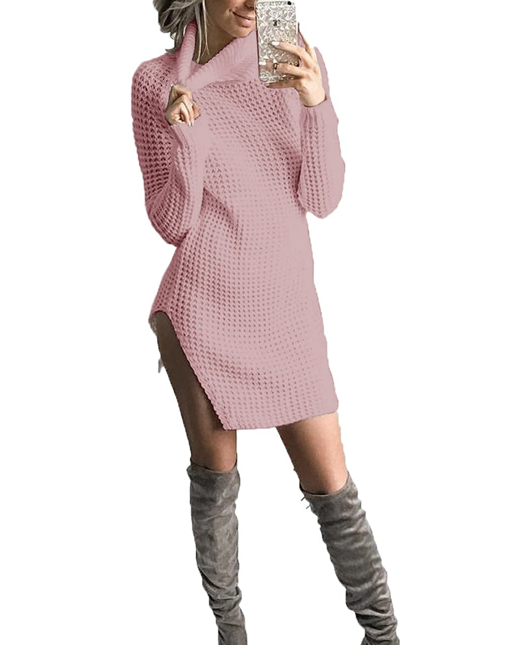 ZHENZHONG Women's Turtleneck Long Sleeve Slim Fit Knit Pullover Sweater Dress