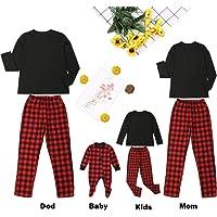Conjunto de Pijama Familiar a Juego, Color Negro, Manga Larga, Playera + Pantalones a Cuadros