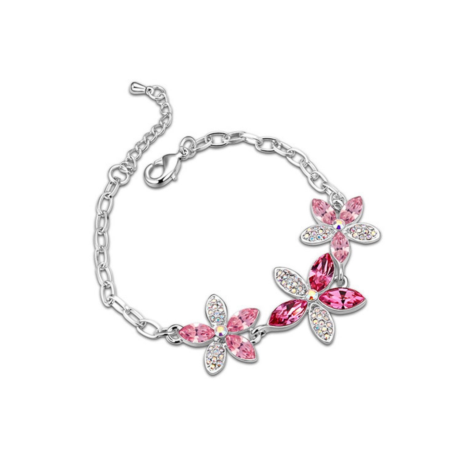 KEBINAI Swarovski Elements Crystal Bracelet Flower Pinellia Korean Fine Diamonds,Russian