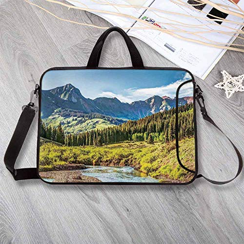 Lake House Decor Neoprene Laptop Bag,Mountain Vista with Thick Forest Trees Mountain Flowing River Grass Cloudy Sky Valley Laptop Bag for Office Worker Students,14.6