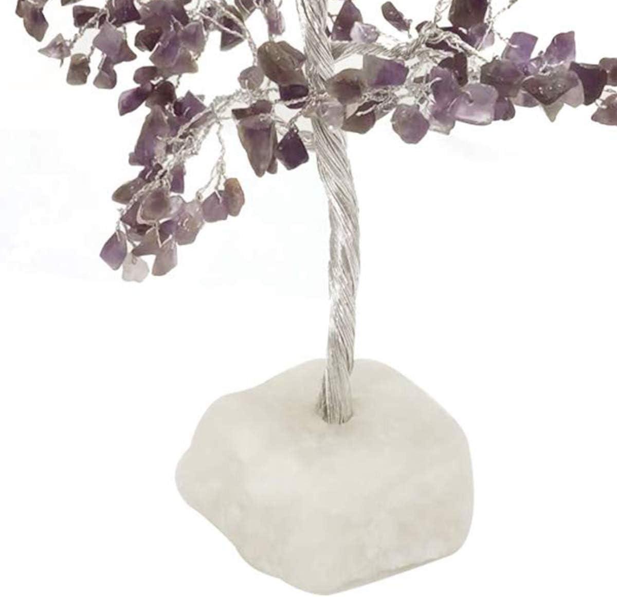 Crocon Amethyst Quartz Base Gemstone Money Tree Feng Shui Bonsai for Reiki Healing Chakra Stone Balancing Energy Generator Spiritual Meditation Home Interior Office Decor Size 10-12 Inch