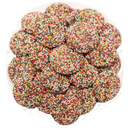 Scott's Cakes Milk Chocolate Wafers with Rainbow Non-Pareils in a 6 Pound Clear Cello Bag