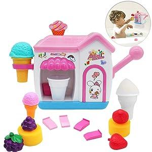Auggie BathToysfor Toddlers FoamMakerBathtub IceCream Bubble PretendCakePlaySet Tub Water Bathtime Toys GiftforGirlsBoys KidsAge 2345 YearsOld