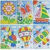 ZZL Mosaic Sticker Art Kits for Kids Animals Butterfly sailing Hot air balloon plane sunflower Sika deer