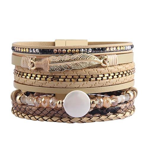 6731a4fb5c4 AZORA Womens Leather Cuff Bracelet Baroque Pearl Wrap Bracelets Gorgeous  Gold Tube Bangle Handmade Wristbands Jewelry Bohemian Gift for Women, Teen  Girls, ...