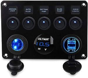 Kohree 5 Gang Rocker Switch Panel 12V Waterproof for RV Boat Car Vehicles Truck Marine, Toggle Led Switch Panel Digital Voltmeter Display Dual USB Charger Port DC