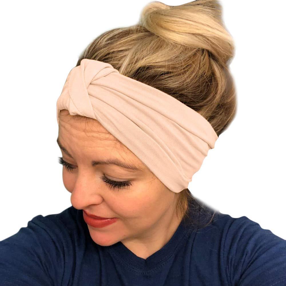HighlifeS Women Elastic Turban Head Wrap Headband Twisted Hair Band (F)
