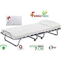 Luxory Farmarelax Grand lit Pliant 80 x 190 cm, 13 Lattes en Bois avec Matelas H7 + Oreiller à mémoire de Forme, orthopédique, sommier Simple, Gain de Place, roulettes,