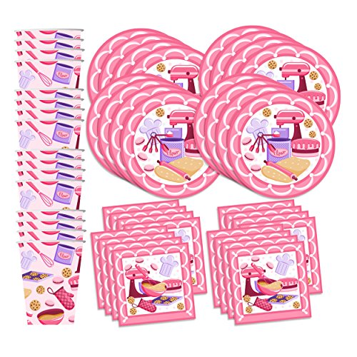 Little Baker Birthday Party Supplies Set Plates Napkins Cups Tableware Kit for 16