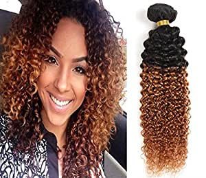 7a Two Tone Jerry Curl Ombre Hair Weaves Brown Color 1B 30 Brazilian Human Hair 3 pcs lot Ombre Brazilian Jerry Curly Hair Bundles (10 10 10)