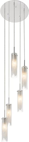 Elan Lighting 83067 Krysalis 5LT Pendant, Chrome Finish and Clear Glass Shades with White Filigree Metal Inside