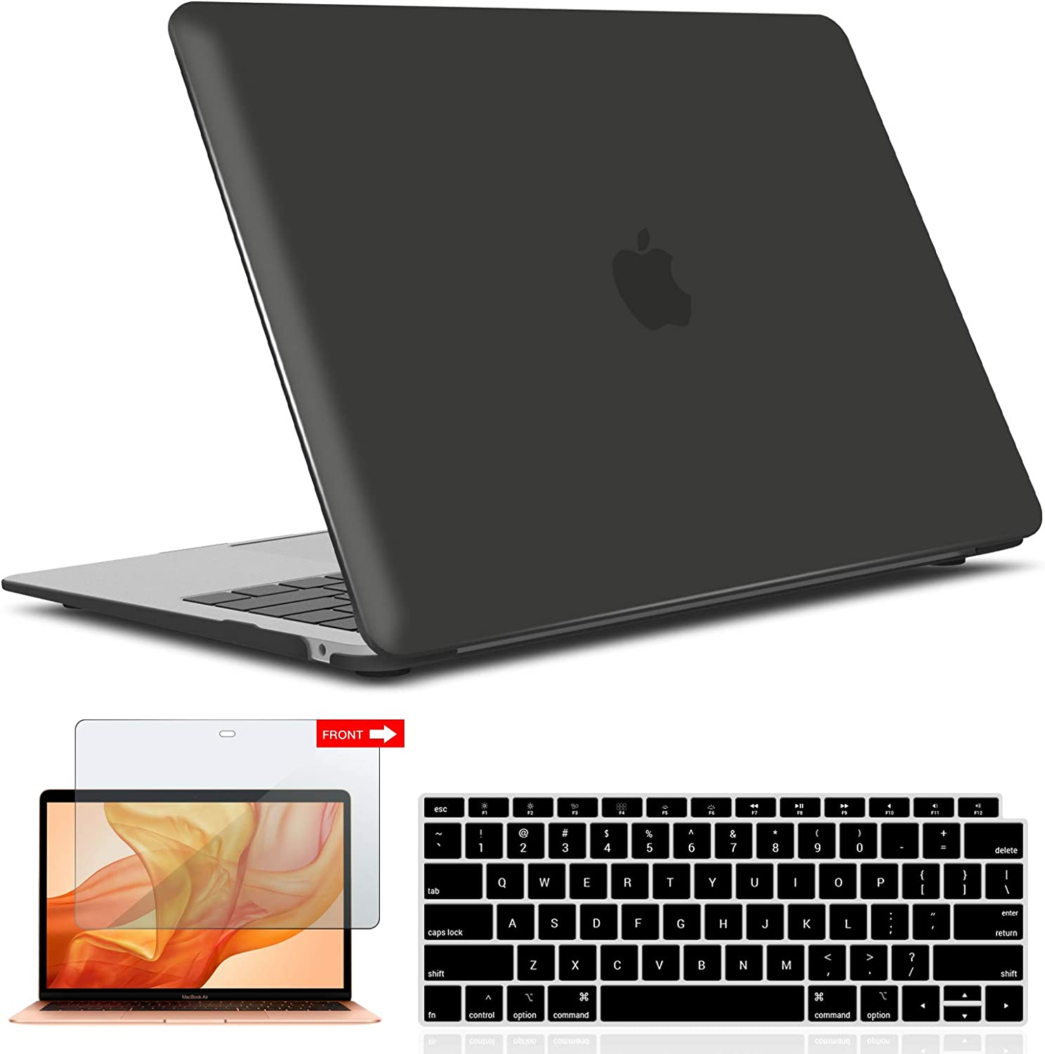 IBENZER MacBook Air 13 Inch Case 2020 2019 2018 New Version A2179 A1932, Hard Shell Case with Keyboard & Screen Cover for Apple Mac Air 13 Retina with Touch ID, Black, AT13BK+2