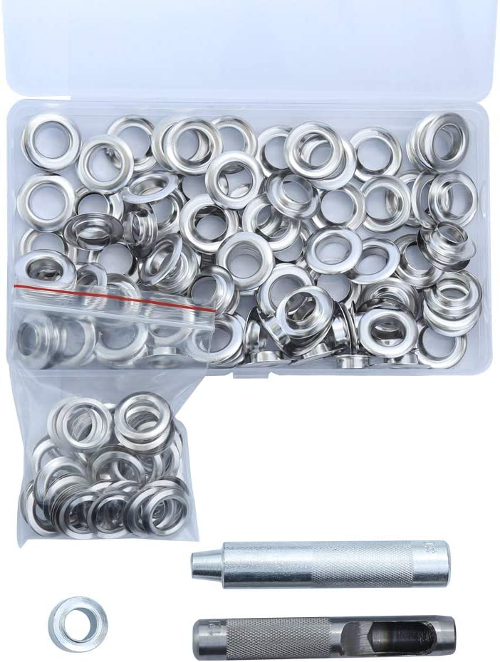 100Sets Grommet Kit Grommet Setting Tool Grommets Eyelets with Storage Box 3 Pieces Install Tool for Repairing Canvas Tarps Tents Curtain DIY Leather Craft Clothing Crafts 1//2 Inch Inside Diameter